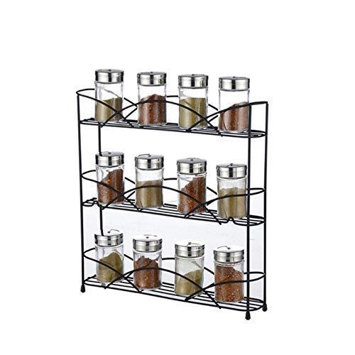 Mimitool Tapa de la Hierba de la Botella de la Botella de la Especia del Bastidor de la Especia del Estante de la Especia de la Especia para despensa, gabinete, encimera o Libre (Negro)