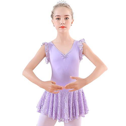 Soudittur Vestito da Balletto Manica Corta Body Danza Classica Ginnastica Artistica Balletto Leotard con Pizzo Gonnelino per Bimbe e Ragazze in Viola