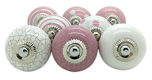 G Decor - Pomelli in ceramica, stile vintage shabby chic, per mobili e credenze, colore rosa, set da 8