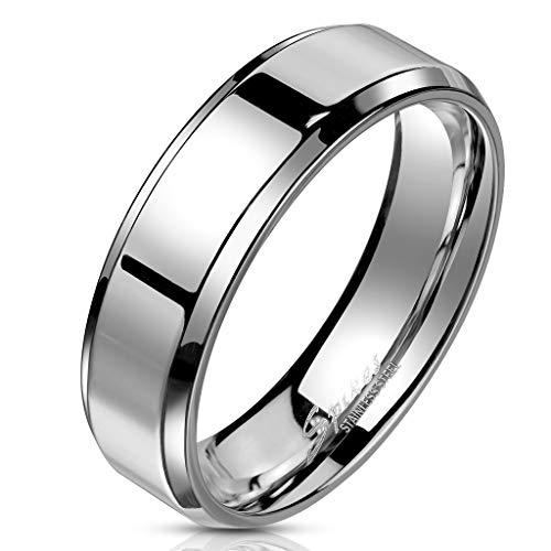 Bungsa® 60 (19.1) Edelstahl Ring mit schrägem Rand hochglanzpoliert Silber Schmuckring für Damen und Herren (Ring Damen Fingerring Partnerringe Verlobungsringe Trauringe Damenring Chirurgenstahl)