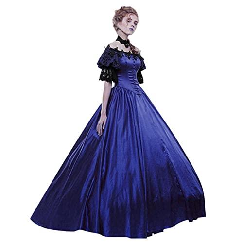 Julhold Vestidos de baile de corte gótico para mujer, manga corta, encaje vintage, vestido de noche, disfraz de Halloween (azul, XL)