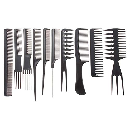 10Pcs Professional Salon Hairdressing Styling Tool Multifunction Pro Barbers Brush Combs Hair Cutting Comb Sets Kit Hair Massage for Women Men Kids