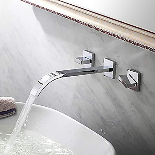 LCSD Wasserhahn Silber Moderne Waschbecken Wasserhahn - Wasserfall Chrom Wand DREI Löcher/Zwei Griffe DREI Loch Hotel Badewanne