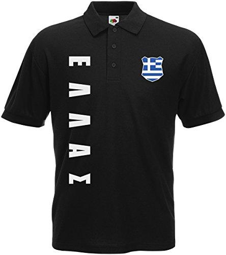AkyTEX Griechenland Hellas EM-2020 Polo-Shirt Wunschname Nummer Schwarz XXL