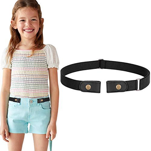 No Buckle Stretch Belt for Child Boys Girls Buckle Free Kids Belt Buckleless for Pants Jeans, Black,Waist Size Below 24 Inches