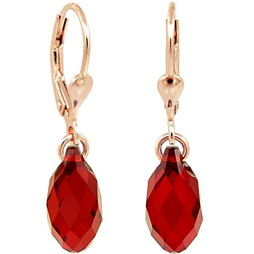 Ohrringe Rosegold Rot Tropfen Swarovski® Kristalle 925 Sterling Silber NOBEL SCHMUCK