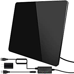 A sleek black HDTV antenna with USB cords and coaxial cable from TS-ant