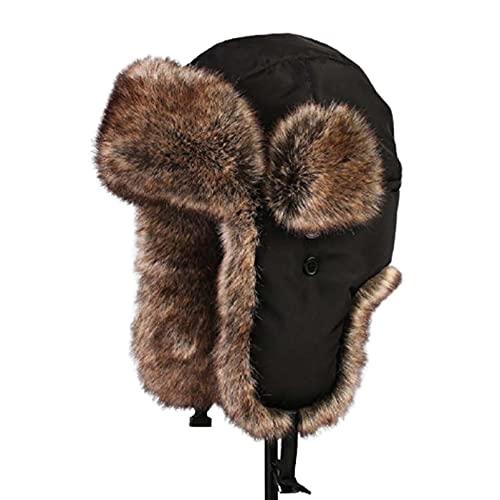 GAOA Unisex Faux Fur Forrado Trapper Sombrero A prueba de viento Invierno Rusia Bomber Sombreros, a, S