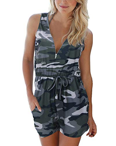 Auxo Damen Ärmellos Kurz V-Ausschnitt Jumpsuit Camouflage Playsuit Sommer Strand Overall A-Tarnung Small