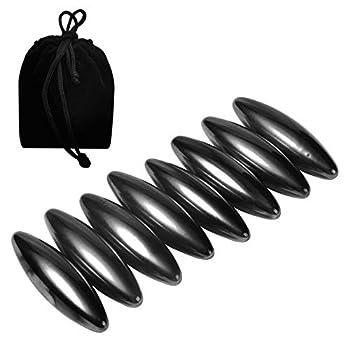 NicoSeeWonder 8 Pieces 43mm Black Oval Magnetic Balls Snake Eggs Magnets Hematite Rattle Snake Ellipsoid Magnetic Rattlesnake Egg  Small