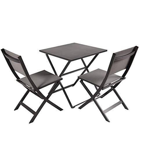 GT-LYD Muebles de jardín Conjunto de 3, 2 sillas de jardín, 1 jardín Mesa, Silla Plegable de Aluminio Resistente a la Intemperie Made, portátil al Aire Libre Silla