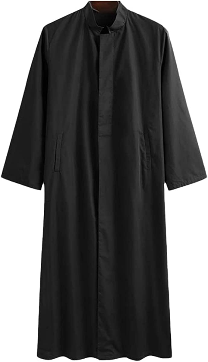Men's Muslim Robe Islamic Arab Long Sleeve Vintage Jubba Thobe Solid Button Stand Collar Middle East Dubai Robe
