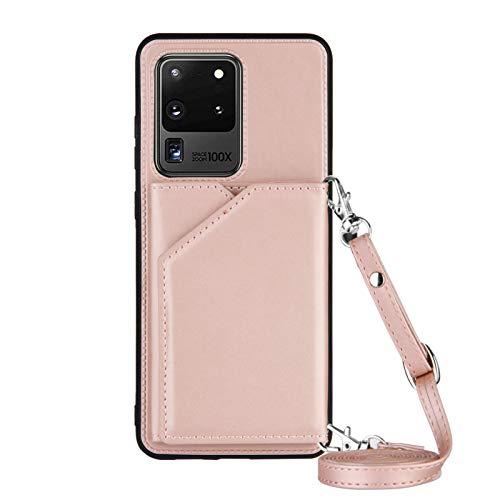 Lanyard - Funda para Samsung Galaxy S20 Ultra (6,9 pulgadas), color oro rosa