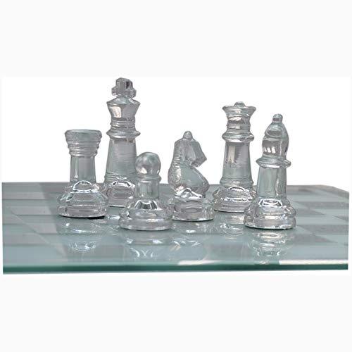 Liapianyun Juegos Tradicionales de ajedrez Elegante, Cristal de ajedrez Lucha embalajes de cartón Conjunto Damas Ajedrez Internacional de Ajedrez Juego de ajedrez,Clear