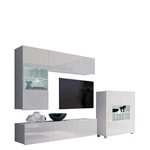 Moderne Wohnwand Calabrini III, Anbauwand, Mediawand, Kommode Hängevitrine, TV Lowboard, Wandregal, Wohnzimmerschrank, Fernsehschrank (mit weißer LED Beleuchtung, Weiß/Weiß Hochglanz)