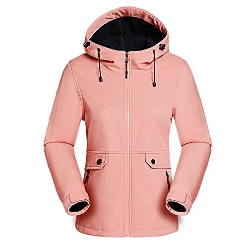 Softshell Fleece Senderismo Chaqueta Mujer Primavera Otoño Exterior Camuflaje Capucha, rosa, L