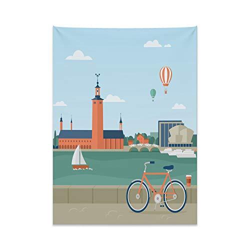 ABAKUHAUS Stadt Wandteppich & Tagesdecke, Stockholm Schweden Fahrrad, aus Weiches Mikrofaser Stoff Modernster Digitaldruck Technologie, 110 x 150 cm, Mehrfarbig