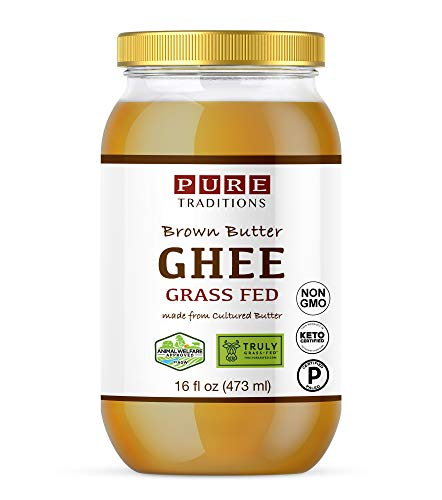 Grass-Fed Cultured Brown Butter Ghee, Certified Paleo, Keto Certified, Truly Grass Fed Certified, Casein and Lactose Free (16 oz) Glass Jar