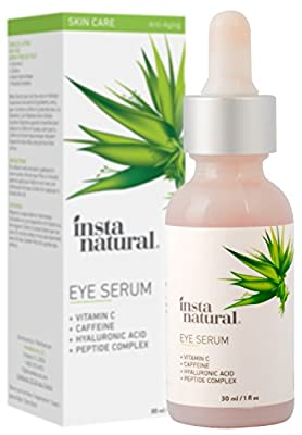 InstaNatural Eye Serum For Dark Circles & Puffiness - Reduces Bags, Wrinkles, Fine Lines, Sagging Skin & Puffy Eyes - With Vitamin C, Caffeine, Plant Stem Cells, Astaxanthin & Kojic Acid - 30 ml by Instanatural