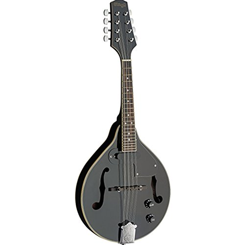 Stagg M50E BLK Elektroakustischer Bluegrass Mandoline mit der NATO Top, schwarz