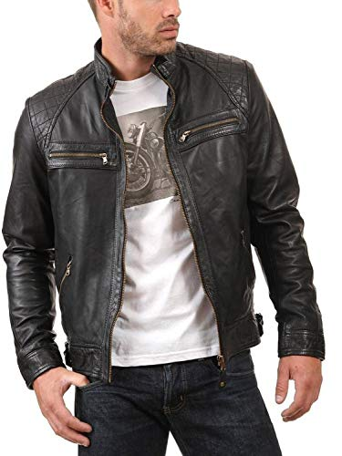 Laverapelle Men's Genuine Lambskin Leather Jacket (Black, Large, Polyester Lining) - 1501344