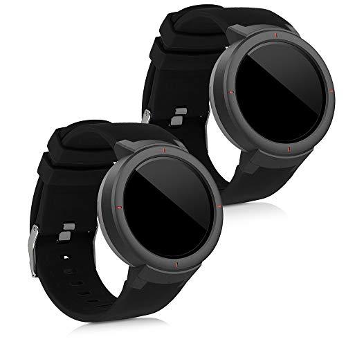 kwmobile 2X Pulsera Compatible con Huami Amazfit Verge - Brazalete de Silicona Negro sin Fitness Tracker
