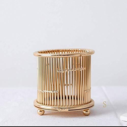Ornamenten Kaarsenstandaarden Nordic Metal smeedijzer Vaas Creative Crafts Simple Golden Cylinder Candle Holder Home Decoration Kandelaar (Kleur: Geel, Maat: S) (Color : Yellow, Size : Small)