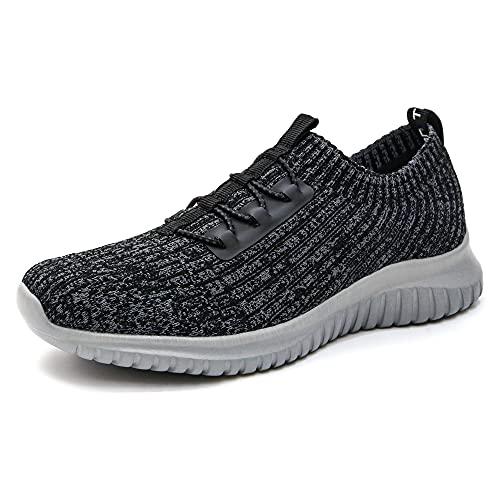 konhill Zapatillas de senderismo cómodas para mujer - Tenis atlético casual sin cordones, (2122 Gris oscuro/Gris), 42 EU