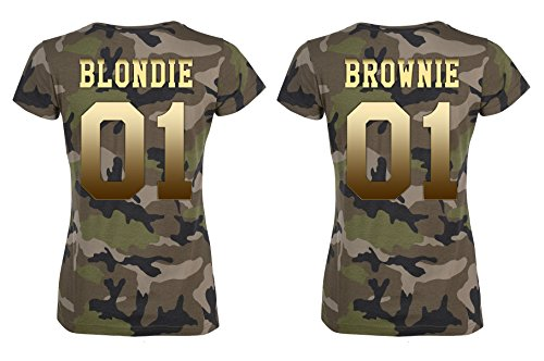 TRVPPY BFF Damen Camouflage T-Shirt Set Blondie & Brownie Gold-Camouflage, Blondie S, Brownie S