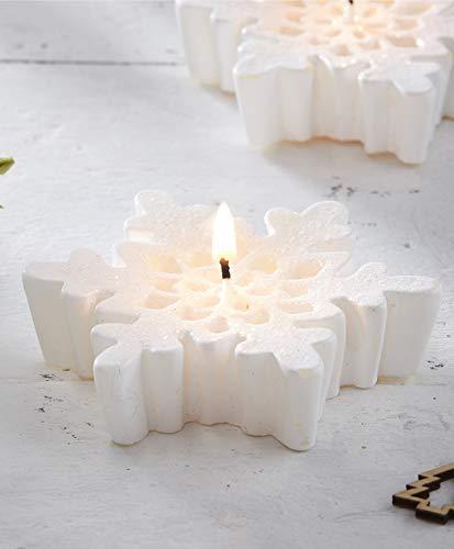 Ginger Ray - Velas de Navidad (3 unidades), diseño de copo de nieve, color blanco