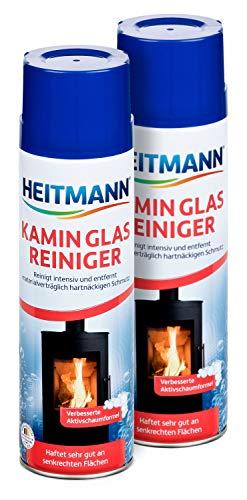 Preisvergleich Produktbild Heitmann Kamin Glas-Reiniger: Aktivschaum für hartnäckigen Schmutz,  Kaminreiniger,  Entrußer,  Ofenreiniger 2×500 ml Dose