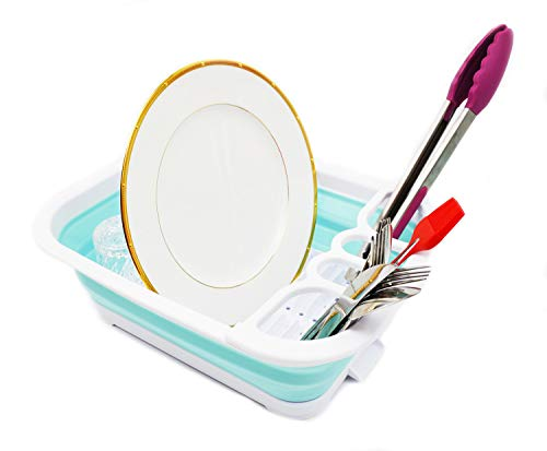 SAMMART Collapsible Dish Drainer with Drainer Board - Foldable Drying Rack Set - Portable Dinnerware Organizer - Space Saving Kitchen Storage Tray (1, White/Lake Green)