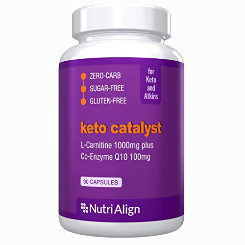 Nutri-Align Keto Catalyst: L-Carnitine 1000mg Plus CoQ10 100mg. Stimulates Natural Ketosis and Ketogenic Energy Production at Cellular Level. 90 Capsules.