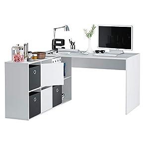 Habitdesign 004606A - Mesa Escritorio, Mesa despacho Reversible, Color Blanco Artik, Estudio Modelo Adapta XL