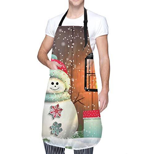 COFEIYISI Delantal de Cocina Lindo muñeco de nieve con gorro de Papá Noel en el jardín con una caja de regalo y una linterna Delantal Chefs Cocina para Cocinar/Hornear