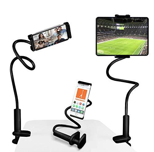 TickleBrick - Supporto universale per cellulare e tablet iPad per letto, divano, tavolo – braccio regolabile a 360 gradi per tutti i dispositivi – ampio morsetto con supporto Grip Pad (nero)