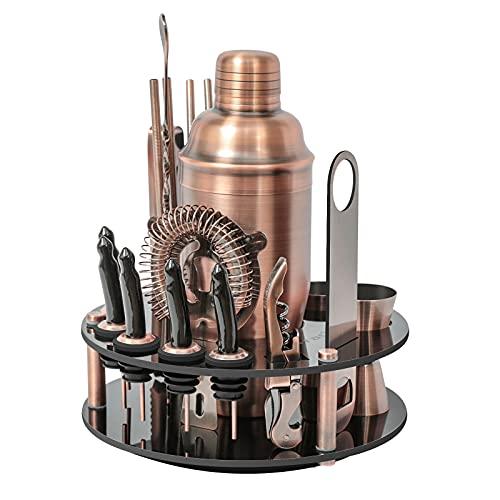 Cocktail-Shaker-Set aus Edelstahl, schwarz