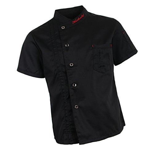 Baoblaze Chaqueta de Chef Unisex Capa Camisa Mangas Cortas Cocina Ejecutivo Camarero Mangas Corta Atavío Camiseta de Cocinero - Negro, XL