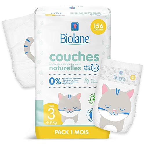 Biolane - Couches éco-responsables taille 3 (4 - 9 kg) - Zéro fuite pendant 12h - Pack 1 mois 156 couches