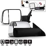 Acanii - Telescoping Power+Heat+LED+Puddle/Signal Towing FlipUp Chrome Mirrors Passenger+Driver For 2009-2012 Dodge RAM