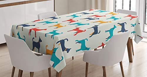 ABAKUHAUS Perro Mantele, Perro Retro, Fácil de Limpiar Colores Firmes y Durables Lavable Personalizado, 140 x 200 cm, Gris Rojo Teal