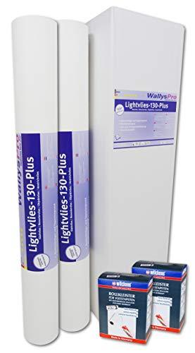 2x Glattvlies Renoviervlies Lightvlies 130 Plus (37,5m²) inkl. 2x Wilckens Rollkleister