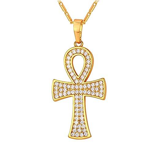 Minekkyes Collar y Colgante de Ankh, la Llave del Nilo, Cadena de Color Dorado para Mujeres/Hombres, joyería, circonita cúbica, Cruz egipcia, 55 cm