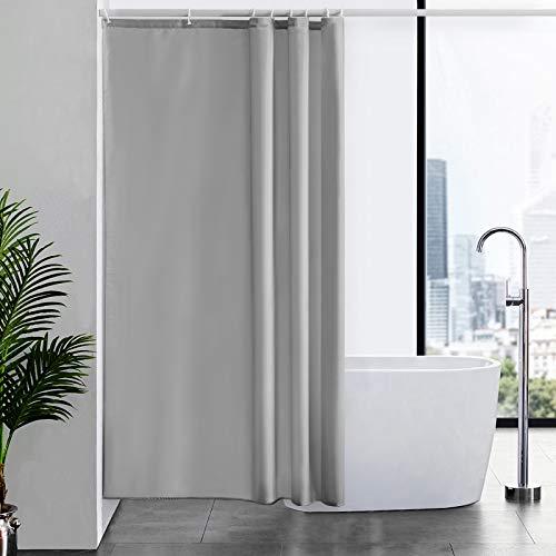 Furlinic Duschvorhang Textil Anti-schimmel Wasserdicht Waschbar Badvorhang aus Polyester Stoff Grau 120x200cm mit 8 Duschvorhangringen.