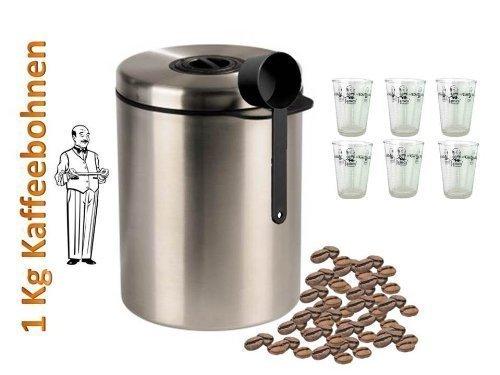 Aromadose Vorratsdose Kaffeedose Teedose aus Edelstahl Neu mit Silicabag von Conny Clever® zur Erhaltung der Aromastoffe von James Premium® + Aktion 6 Kaffee Glas Becher
