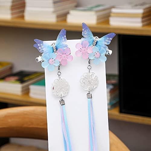 xiangwang Tocado Hanfu para niños y adultos, accesorios para el cabello antiguos, adornos antiguos, borla de mariposa para niña, horquilla de hada (color: 1 pieza azul)