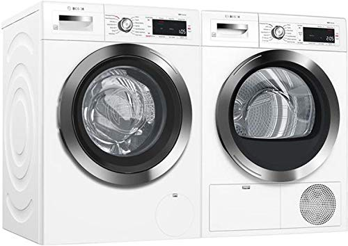 Bosch Front Load Laundry Pair in White with WAW285H2UC Washer and WTG865H2UC Electric Dryer