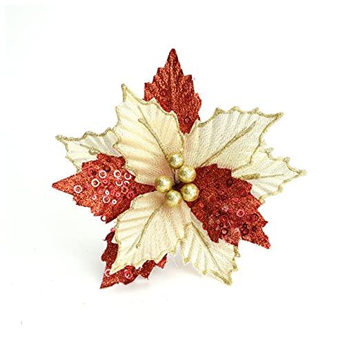 6 pezzi di Natale glitterati a forma di stella di Natale per albero di Natale, 9 € Glitter Poinsettia albero di Natale, fiori artificiali in seta per ghirlande per albero di Natale, decorazioni