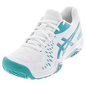 ASICS Women's Gel-Challenger 12 Tennis Shoes, 11.5, White/Techno Cyan