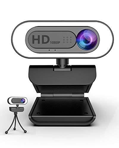 lesvtu Webcam 1080P Full HD con Microfono, Web Cam per PC con Luce ad Anello e Treppiede Videocamera USB con Laptop,Fisso e Mac per Conferenza, Videochiamate, Registrazione,Studio, Gioca a Giochi